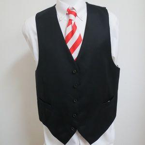 Sz 50R Black Solid Mens 100% Wool #79Q Suit Vest
